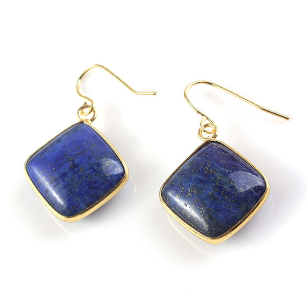 Crystal Earrings Drop 18K Gold Plated Natural Stone Earrings Charms Geometric Earrings Fashion Jewelry For Women Gifts