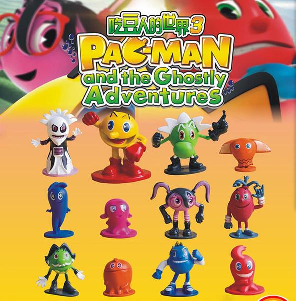 2016 12pcs jogo Pac-Man e os Ghostly Adventures Pixels pacman ação PVC figura crianças brincam de brinquedo de presente bolo bonecas de coco modelo