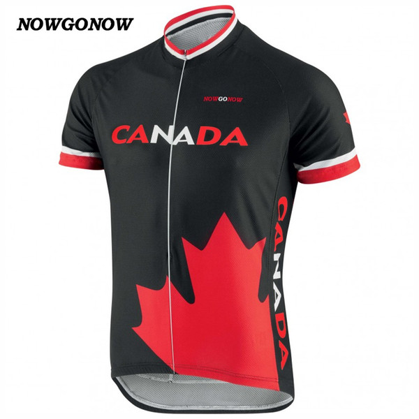 MEN hot cycling jersey black Canada Maple Leaf flag bike wear tops national team summer clothing outdoor sportwear riding racing NOWGONOW
