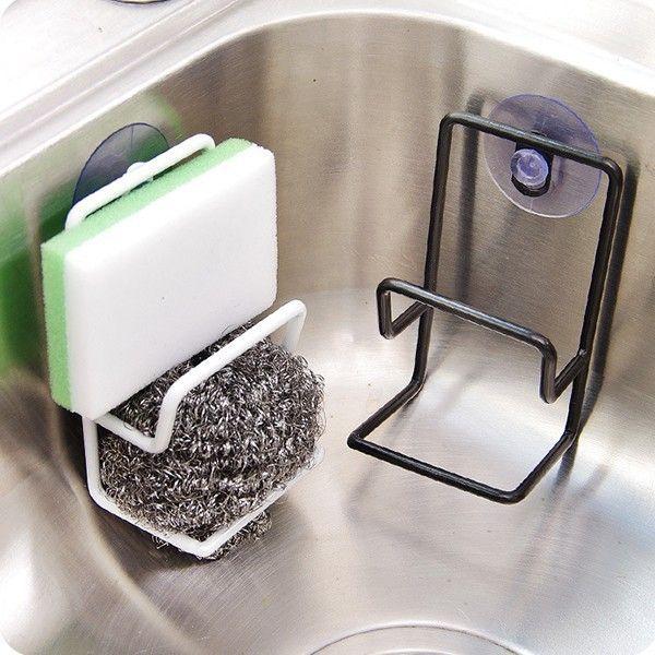Simple suction cup double iron draining rack multi-purpose debris storage racks sink sponge brush holder kitchen racker
