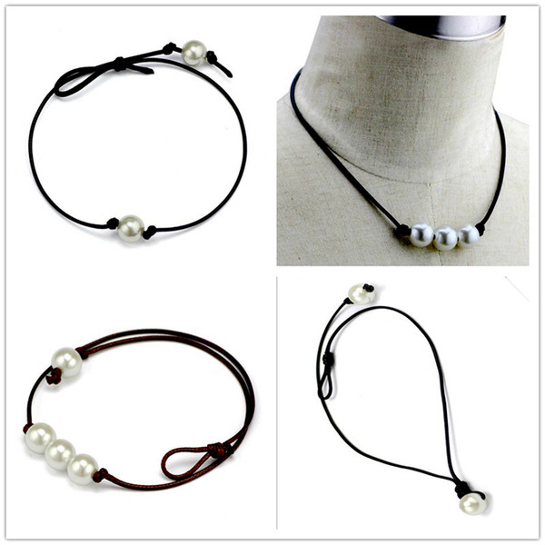 top popular Women Fashion Chokers Pearl Necklace Jewelry Handmade Leather Rope Pearl Pendant Necklace Imitation Natural Freshwater Pearl Necklace 2020