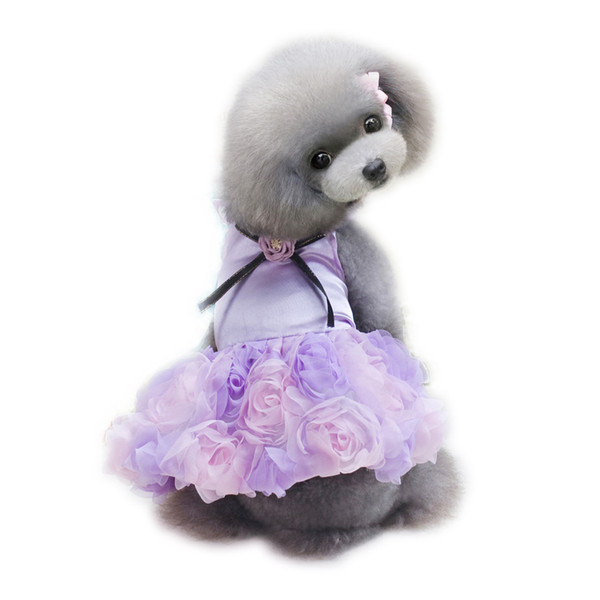 2017 Pet Dog Rose Wedding Dress Puppy Princess Lovely Clothes Cloth for Small Dog Chihuahua Yorkshire Spring & Summer FREE SHIPPING