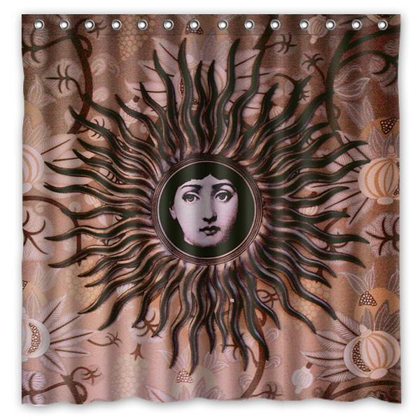 Al por mayor- Piero Fornasetti trabajo impreso cortina de ducha de poliéster a prueba de agua cortinas de baño en el hogar con 12 ganchos 180x180cm