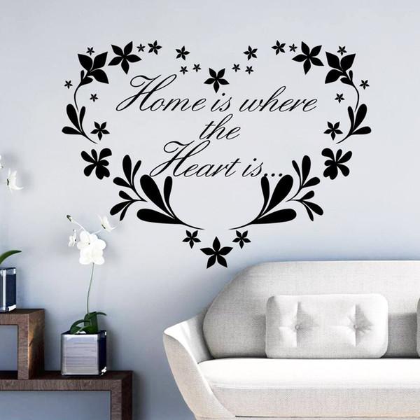 Dove Comprare Stickers Murali.Acquista La Casa E Dove Il Cuore E Home Decor Creativo Citazione Stickers Murali Fiore Cuore Rimovibile Adesivi Murali In Vinile Carta Da Parati Wall