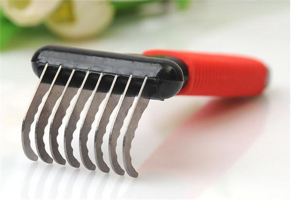 High Quality Stainless Steel Pet Dog Cat Combs Long Thick Hair Fur Shedding Remove Rake Comb Pet Grooming Brush