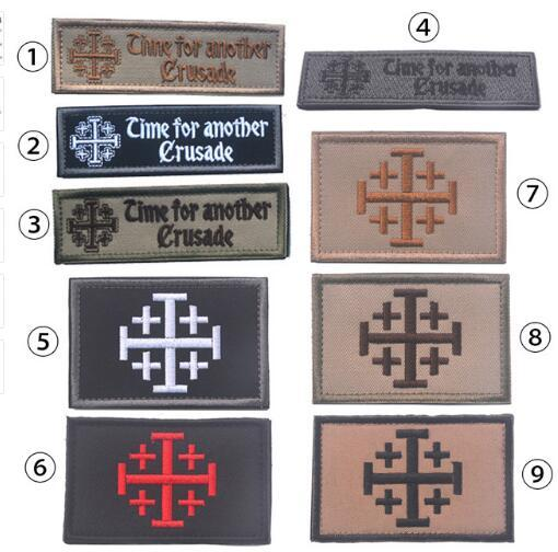 Time For Another Crusade Badge Tactical Patch Morale Patches Hook & Loop 3D 100% Embroidery Badge Military Army Badge