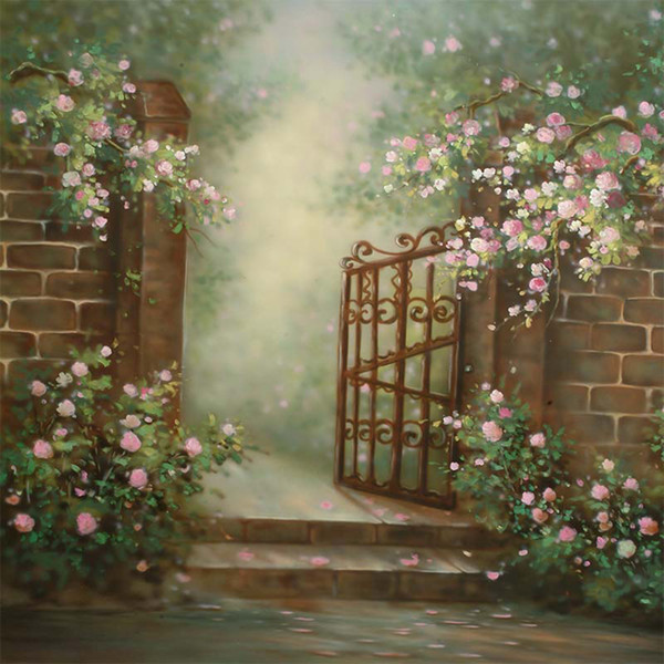 White Pink Flowers Garden Backgrounds Digital Painted Brick Wall Steel Gate Outdoor Wedding Scenic Photography Backdrops Kids Backdrop