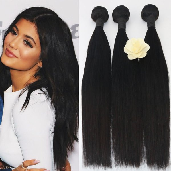 Hair Virgin Brazilian Skilly Straight Human Hair Weave Extension Unprocessed 3Pcs Bundle Natural Color Black 100g Per Pack