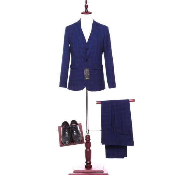 New dark blue plaid lapel men's groomsmen dress and men's evening dress (jacket + pants + vest) made to order