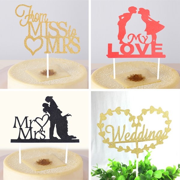 Wholesale- Wedding Theme Cupcake Cake Topper Cake Flags Baking Decoration Supplies For Wedding Commemoration Day Festival Christmas Party