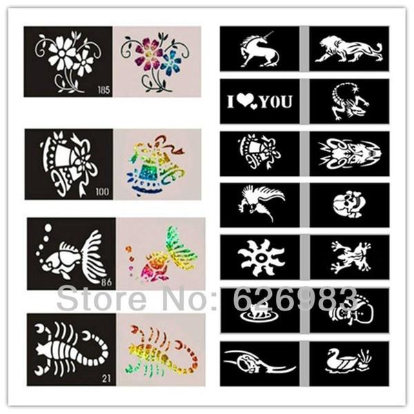 Gros-Wholesales 1000pcs / lot Pochoirs de tatouage de paillettes pour la peinture de Body Art -Mixed Designs Modèles de peinture de corps temporaire Livraison gratuite