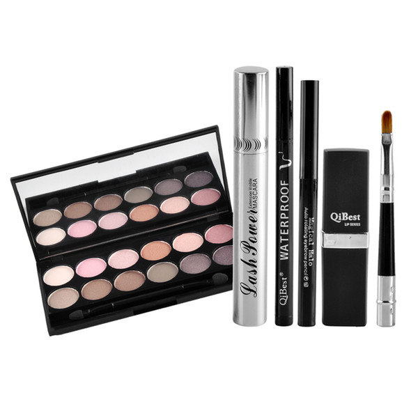 HOT Seal Qibest Makeup Set Mascara + Eyeliner + Eyeshadow + Eyebrow Pencil + Lipstick free shipping