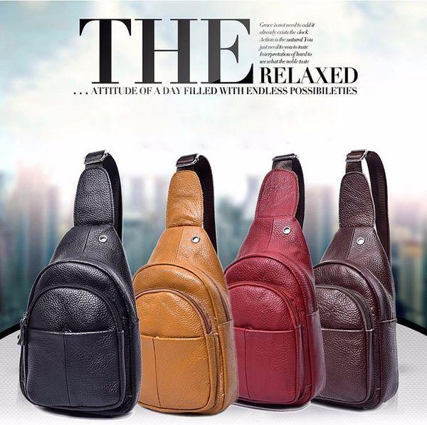 best selling New Designer Genuine Leather Real Cowhide Retro Men Messenger Shoulder Cross Body Bag Triangle Travel Trend Chest Day Back Pack