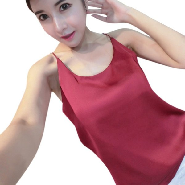 Wholesale- Summer Sexy silk Women Strappy Tank Top Camisole Sleeveless Casual Smooth Bottoming Vest tops