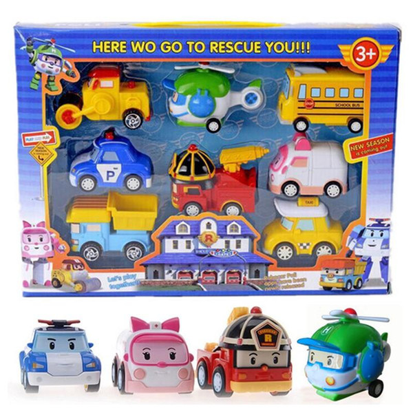 Poli Toys Korea Robocar Poli - Poli /Amber/Roy/Helly Spring Team Car Plastic Safe Toy Children Gift