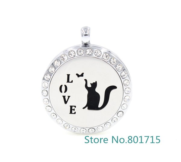 Round Silver love cat (30mm) Aromatherapy / Essential Oils Alloy frame with Stainless Steel Face Perfume Diffuser Locket XX008