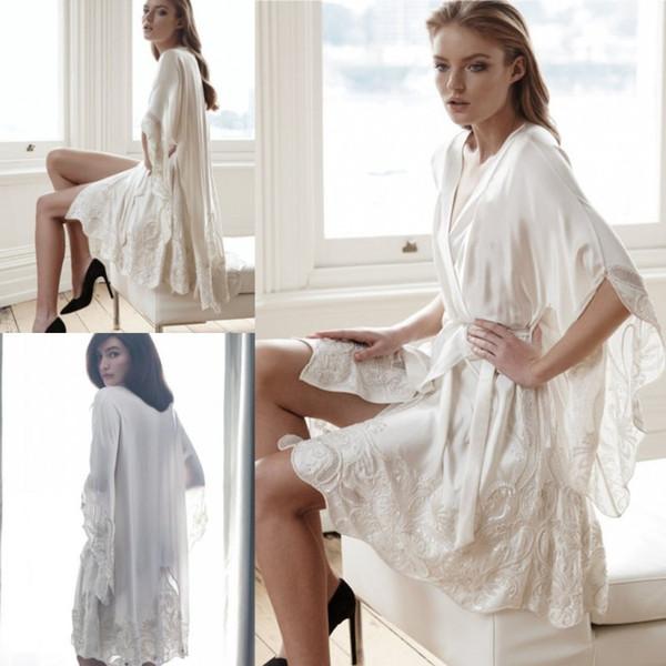 108b2fa66b Cheap Knee Length Bridesmaid Bride Robes Custom Made Silk Satin Bathrobe  Wedding Party Robe For Women New Arrival Lace Sleepwear