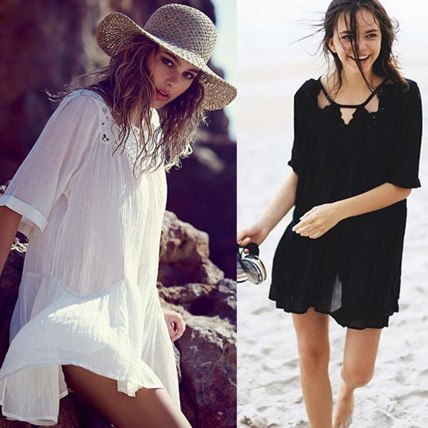 Women Beach Blouse Smock Bikini Cover Ups Loose Beach Dress Sunscreen Beachwear Sexy Swimwear Casual Fashion Swimsuit Swimdress Tops D522