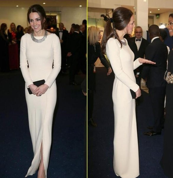 Kate Middleton Original Celebrity Dresses Red Carpet Dresses Crew Sheath White Satin Floor Length Evening prom Dress Long Sleeve Front Slit