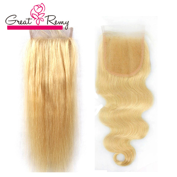 #613 Blond Closure Brazilian Hair Body Wave Top Lace Closure Bleached Knots Straight Hair Pieces Greatremy Factory Outlet Fast Shipping