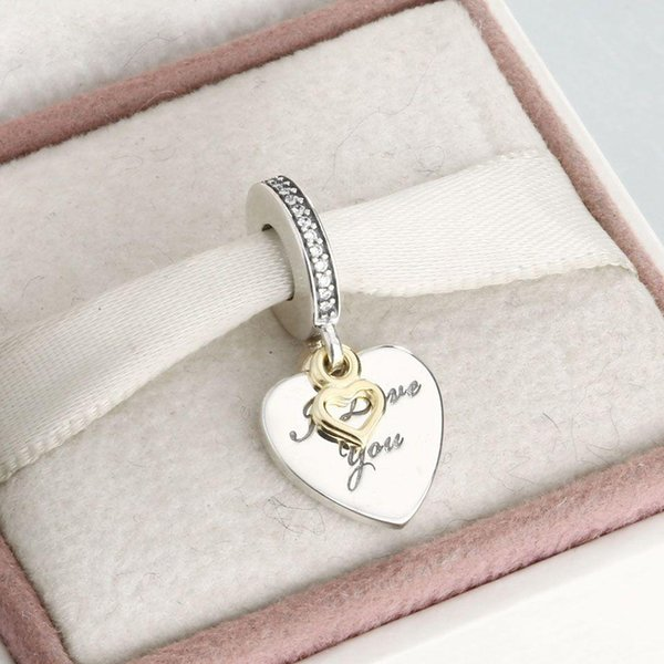 Love pendant gold-plated charm beads 100% 925 Sterling-Silver-Jewelry Clear Symbols Bead DIY Bracelets Bangles Accessories