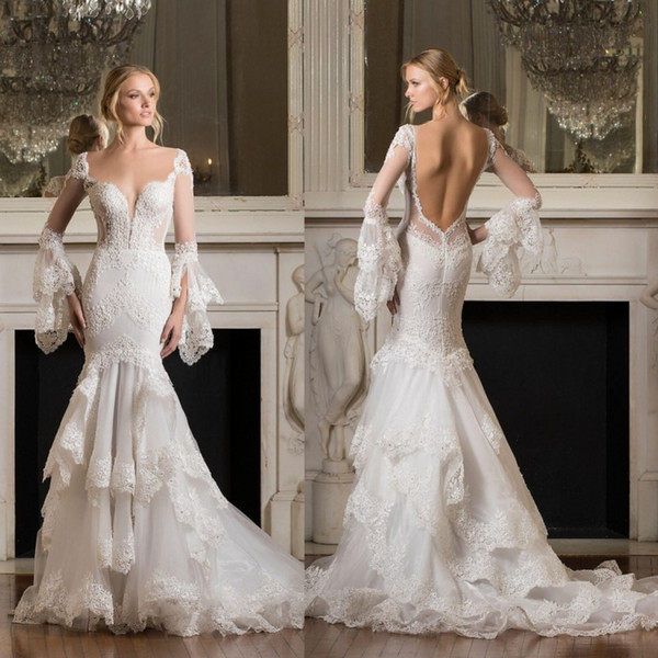 Pnina Tornai 2019 Long Sleeve Wedding Dresses Backless Mermaid Lace Appliqued Sexy Sheer Neckline Tiered Skirts Trumpet Bridal Gowns
