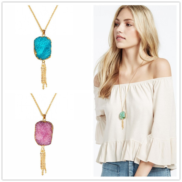 Handmade Gold Plated waterdrop Drusy Druzy Crystal Tassel Bohemia Imitated RESIN Stone Pendant Necklaces For Women