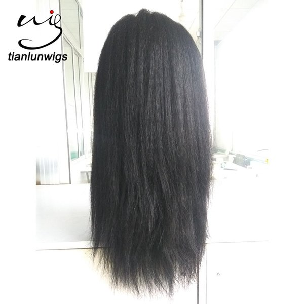 in stock! Unprocessed Yaki Straight Lace Front Wigs Full Lace Human Hair Wig Virgin Brazilian Hair with baby hair