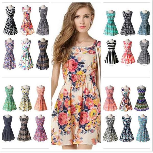 20pcs 19 designs Women Casual flower Dress Plus Size Cheap Dress Fashion Sleeveless Summer Dress M051