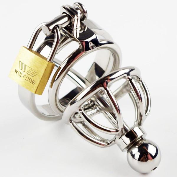 Pequeño dispositivo de castidad masculino de acero inoxidable jaula de gallo adulto con anillo de gallo de la curva juguetes sexuales Bondage cinturón de castidad 2016 último diseño