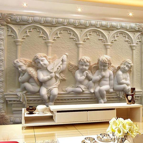 All'ingrosso-personalizzato in stile europeo 3d in rilievo foto wallpaper divano TV sfondo murale papel de parede 3d carte da parati murales rotolo home decor