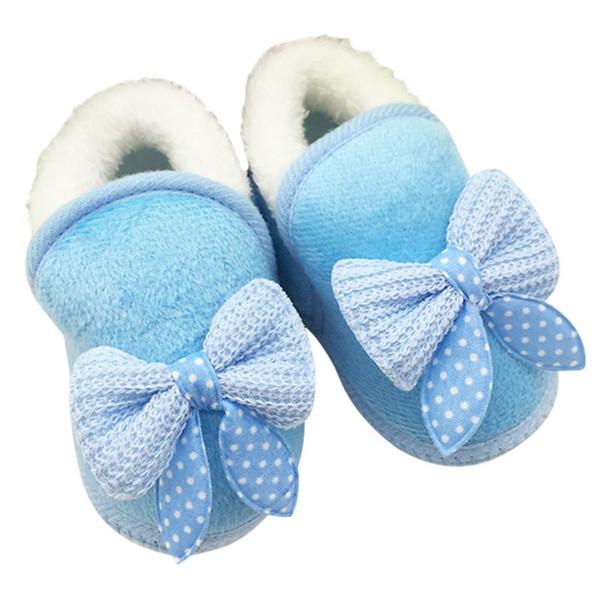 Atacado- Sapatos de bebê Meninas Sapatos Toddler Walker inverno quente Bowknot Botas Soft Sole Prewalker
