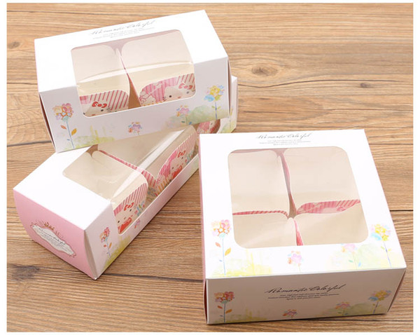 500pcs cupcake boxes with window Pink paper Boxes Dessert Portable Package Mousse cup cake box muffin packaging supplies wholesalers