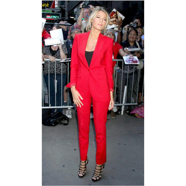 Slim Fit Red Women Tuxedos Peaked Lapel Suits For Women Custom Made One Button Business Women Suits (Jacket+Pants)