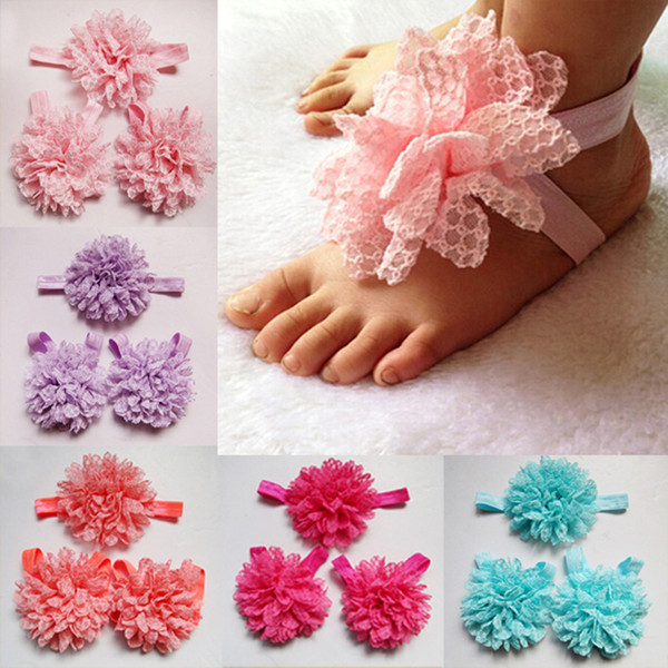3Pcs/set Elastic Toddler Baby Girls Lace Flower anklet Headband set infant Hair Band Foot Flower hair accessories suit free shipping SEN031
