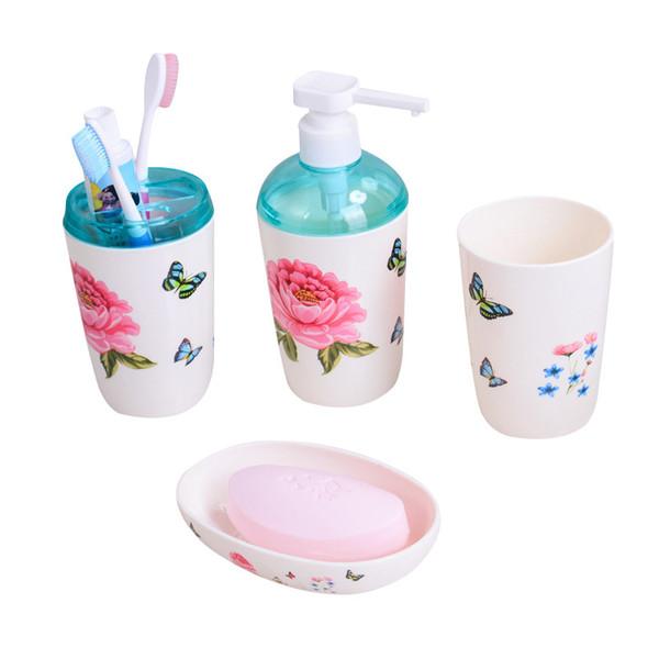 Bathroom Accessories Set European Palace Style 4pc Dispenser Toothbrush Holders Brief Plastic Bathroom Combination Sets
