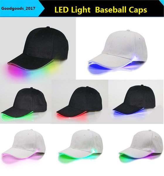 top popular LED Baseball Caps Cotton Black White Shining LED Light Ball Caps Glow In Dark Adjustable Snapback Hats Luminous Party Hats M845 2021