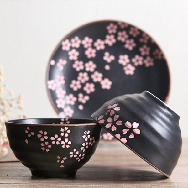 Ceramic Porcelain Frost Glazed Plate Dish Dinnerware Set (6 pcs) with Sakura Pattern Japanese : affordable dinnerware - pezcame.com
