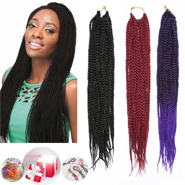 Crochet Synthetic Ombre Braiding Hairstyle Kanekalon Braid Synthetic Hair Extensions Purple Three Colors 18inch 80g Havana Mambo Hair Braids Feather