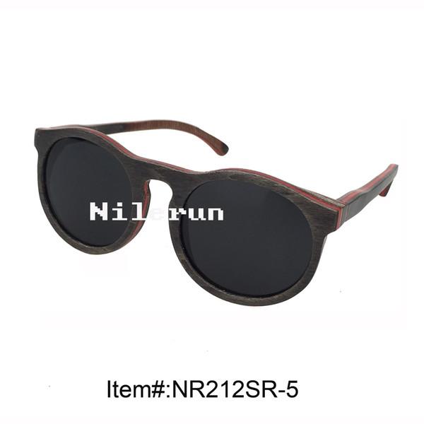 óculos de sol de madeira de skate cinza redondo