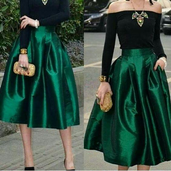 best selling Dark Green Midi Skirts For Women High Waisted Ruched Satin Tea Length Petite Cocktail Party Skirts Top Quality Women Formal Outfits