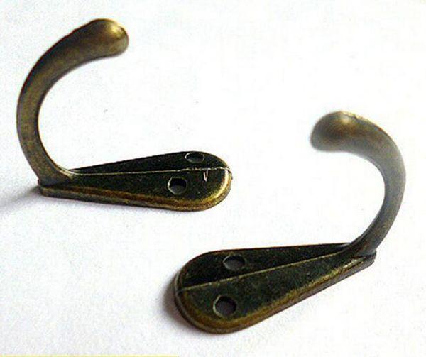 Metal único pino revestimento roupa Robe Bolsa Hat Gancho 3,4 centímetros Cabide Antique Bronze