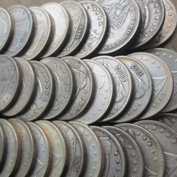 Conjunto completo (1840-1873) 34pcs dólares de plata de la libertad asentados Monedas de un dólar al por menor Precio de fábrica barato agradables accesorios para el hogar Monedas de plata