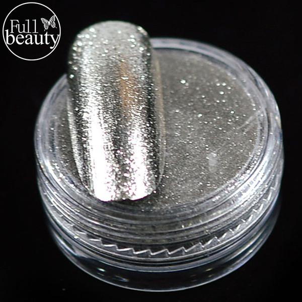 Gros-complet effet de miroir de beauté 2016 1 bouteille de paillettes +1 pinceau Nail Art Chrome Argent Pigment Nail Art autocollant paillettes laser Conseils B01