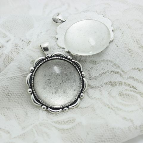 best selling Sweet Bell Antique Silver Alloy flower 39*47mm(Fit 30mm dia) Round Cabochon Pendant Settings +Clear Glass Cabochons A4011-1
