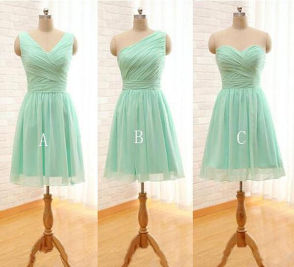 Bridesmaid Dresses Under 50 Pleated Short Chiffon Bridesmaid Dress Mint Green Knee Length Wedding Party Dress Mixed Order Plus Size