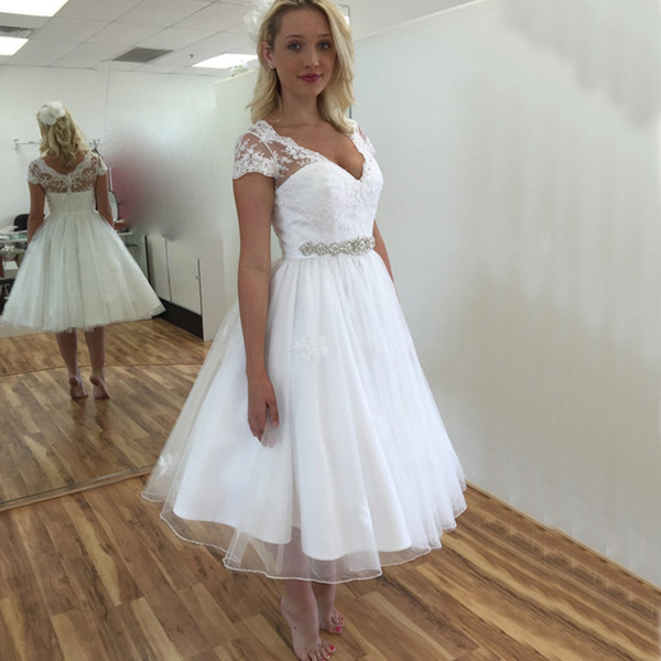 2017 Cheap Tea Length Wedding Dresses A Line Deep V Neck Sheer Short Sleeves Wedding Dress Lace Organza Crystals Belt