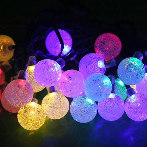 Wholesale-30Led Solar Kristallkugel RGB LED String Außenleuchten Wasserdichte Globus Lampe Für Garten Baum Fee Weihnachten