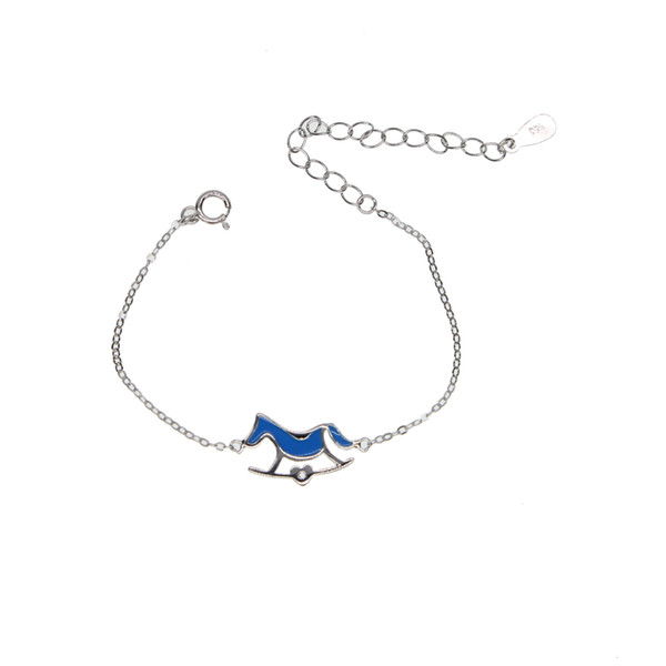925 silver child bracelet with blue pink enamel children baby jewelry for birthday gift family love jewelry with real silver