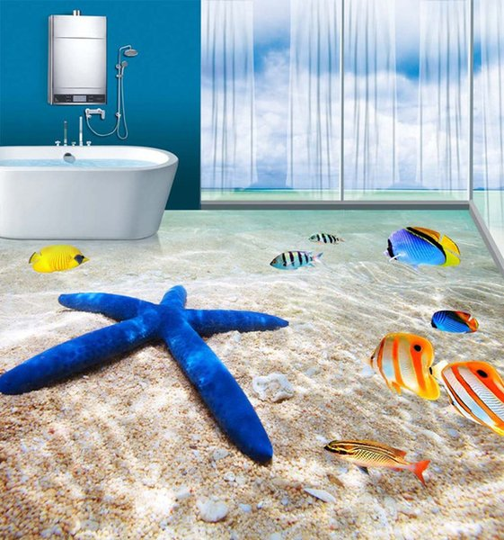 personalizado azulejos mosaicos de parede 3D papel de parede casa de banho sala de estar praia 3D piso wallpaper mural de Envio Atacado-Free